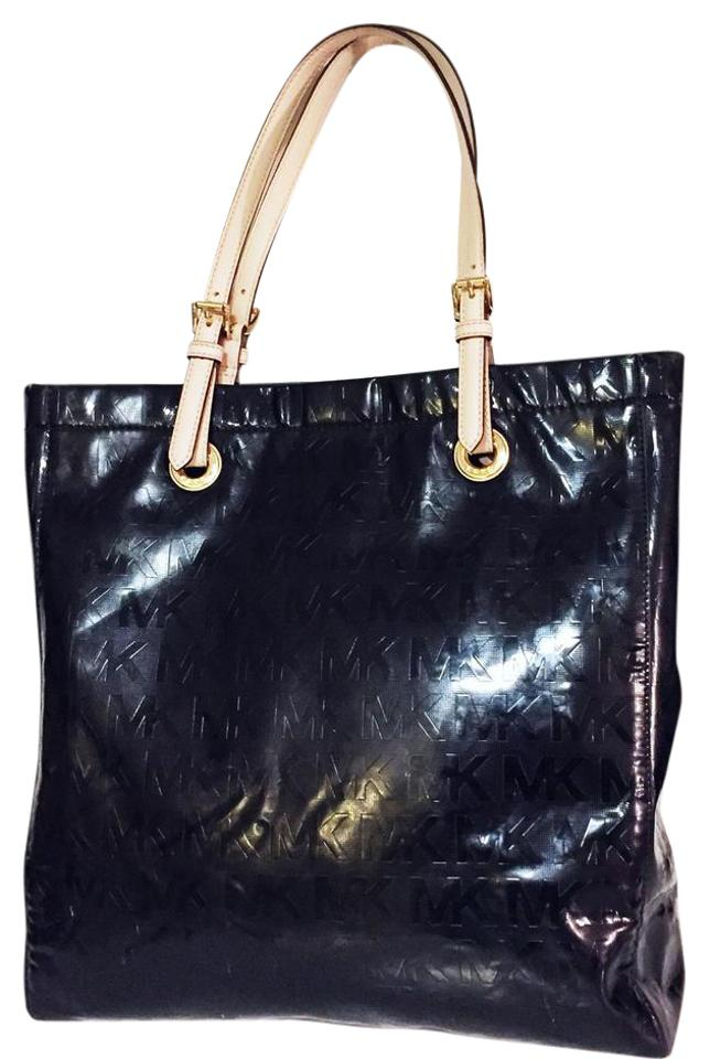 caff662891dc Michael Kors North South Jet Set Monogram Black Patent Leather Tote ...