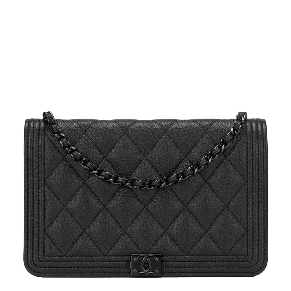 5e431fd2c670 Chanel Boy Wallet on Chain So Quilted Caviar (Woc) Black Leather ...