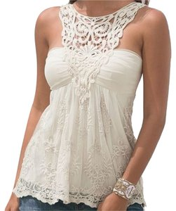 Boston Proper Crochet Lace Top Ivory