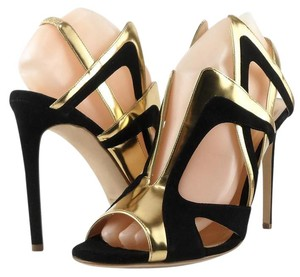 ALEJANDRO INGELMO Leather Italian New Gold Black Sandals