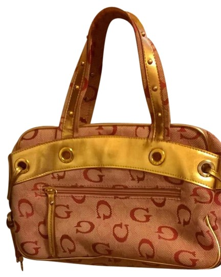 Guess Jacquard Geniune Leather Trim Studded Satchel in Pink and Gold