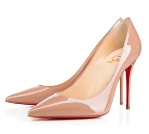 Christian Louboutin Red Sole 100mm Decollete Patent Leather Beige Pumps