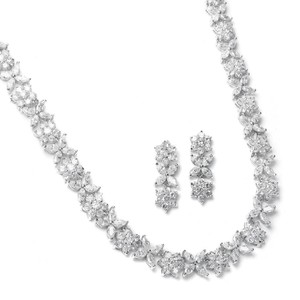 Mariell Silver Cz Necklace with Cz Marquis Flowers 2020s Jewelry Set
