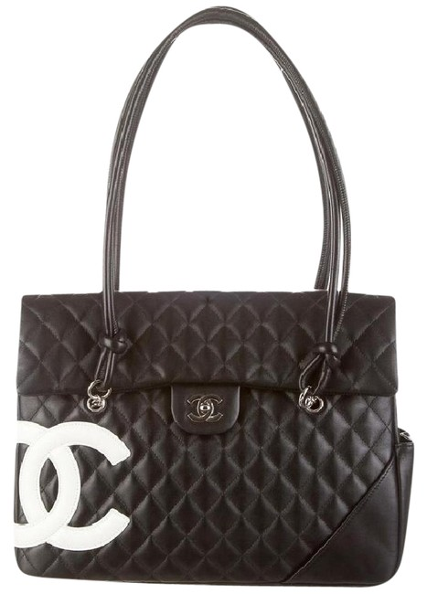 Item - Cambon XL Flap Jumbo Maxi Cc Logo Classic Quilted Shw Black White Lambskin Leather Shoulder Bag