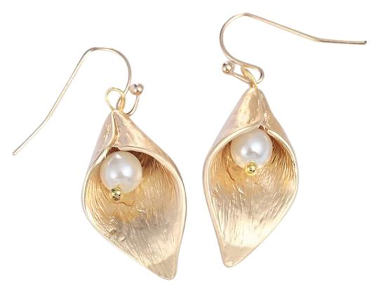 artificial clip tone glory earrings product gold lily pearls morning jewelry back water with leaf