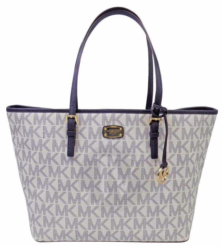 ce7fa69cad44 Michael Kors Mk Carryall Mk Blue Double Straps Mk Travel Tote in Navy and  white Image ...