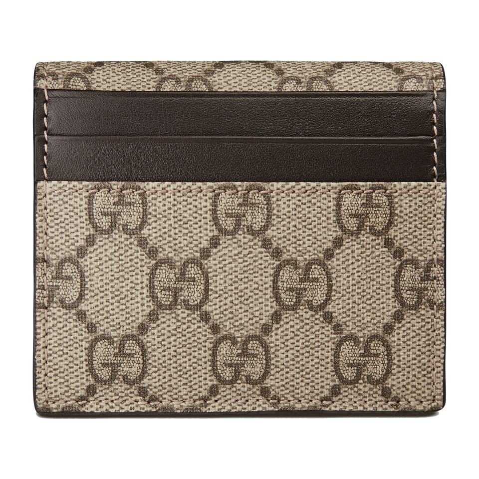 5b3d6c808429 Gucci Gucci GG Supreme Canvas Leather Card Case Wallet 386862 9643 Brown  Image 0 ...