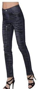 Boston Proper Zebra Print Sequin Skinny Jeans-Medium Wash