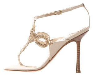 Jimmy Choo Gold And Cream Sandals