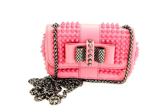 Item - Spiked Small Pink Leather Cross Body Bag