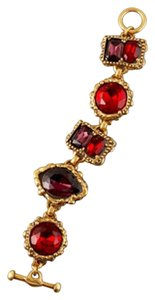 Oscar de la Renta Oscar de la Renta Bracelet *NEW* Gold-Tone Crystal Jewel Red Purple