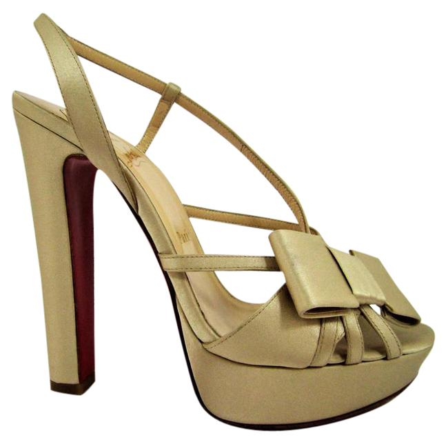 Christian Louboutin Champagne New Disconoeud Wedding Platform Sling Lady Fashion Red Sole Pump Italy Sandals Size EU 39 (Approx. US 9) Regular (M, B) Christian Louboutin Champagne New Disconoeud Wedding Platform Sling Lady Fashion Red Sole Pump Italy Sandals Size EU 39 (Approx. US 9) Regular (M, B) Image 1