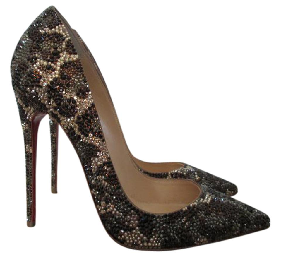 9597b46571b5 Christian Louboutin Leopard Crystal Pointed Toe Brown Pumps Image 0 ...