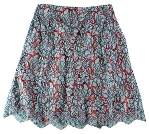 Carven Lace Overlay Scalloped Mini Skirt Blue, Orange