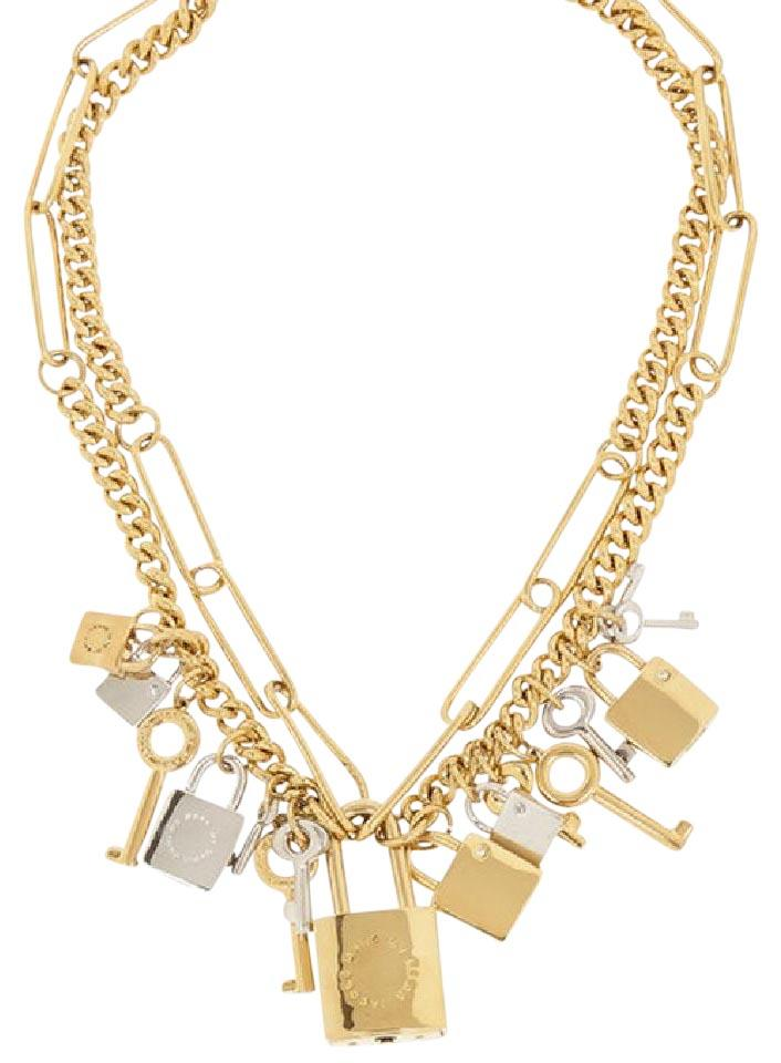 gold padlock oversized silver necklace cc chanel