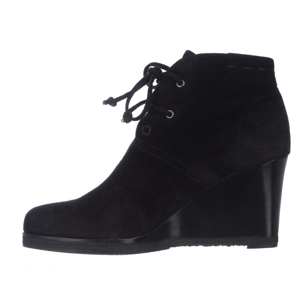 ba93ef7344b Via Spiga Black Mirren Wedge Lace-up Ankle Suede Boots Booties Size ...