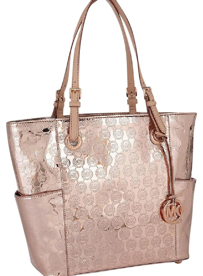 Michael Kors Tote In Metallic Rose Gold
