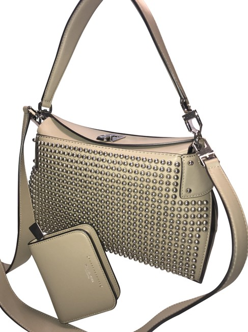 Item - Miranda Medium Top Lock French Calf Studded Wallet Dk Taupe Calfskin Leather Satchel