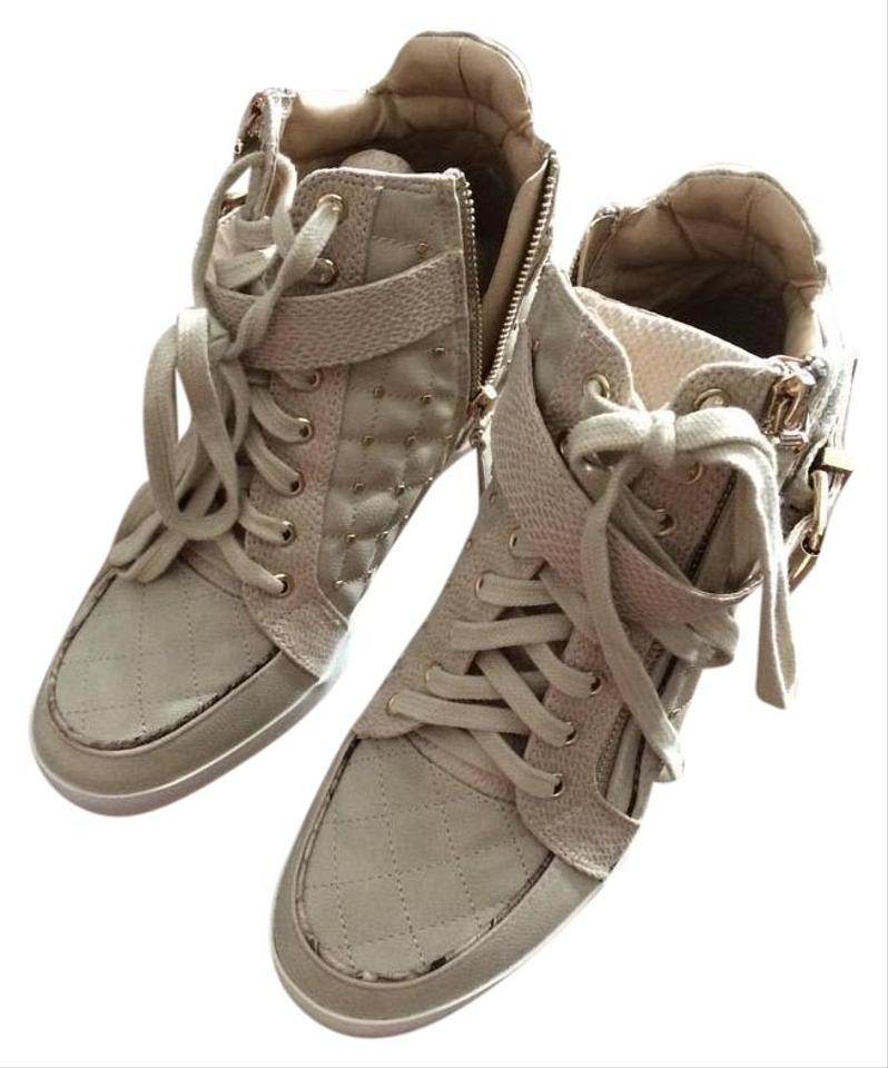 River Island Taupe Mini High Top with Gold Mini Taupe Studs Wedges f17915