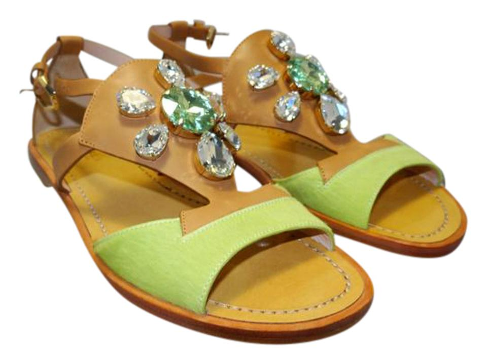 Furla Lime Green Cherie Pony Hair Flat Jeweled Flat Ankle Wrap Flat Hair 35.5 Sandals 51c2ed