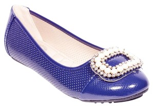Tory K Buckle Cushioned Fashion Navy Flats
