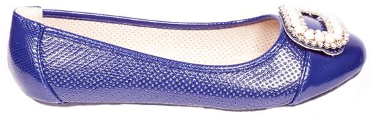 Tory K Buckle Cushioned Fashion Navy Flats Image 1