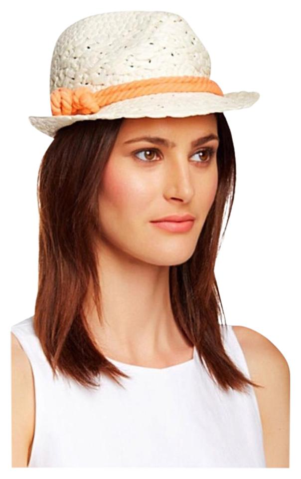 David   Young White Coral Peach Woven Fedora Wide Panama Brim Hat ... 9384d7a6326