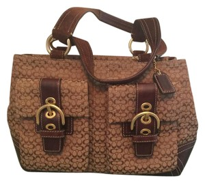 Coach Classic Sachel Leather Suede Tote in brown
