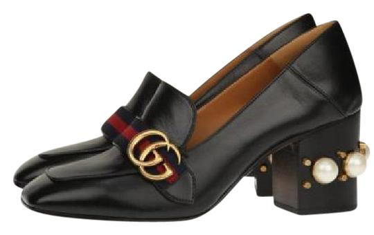 Gucci Gucci Peyton Black with Red/Green Gucci Stripe Pumps Image 0