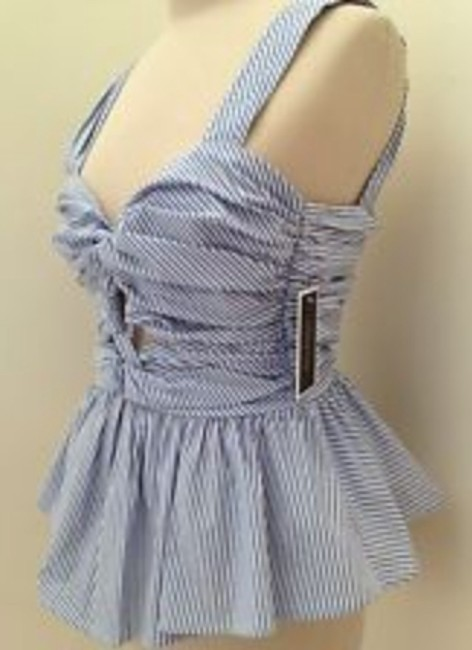 Juicy Couture Peplum Easter Spring Blouse Top powder blue and white stripe