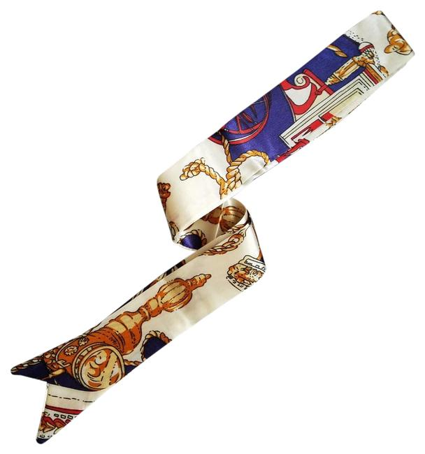 Item - Main Colors Are Cream Navy Blue Red and Gold Multi-purpose Scarf/Wrap