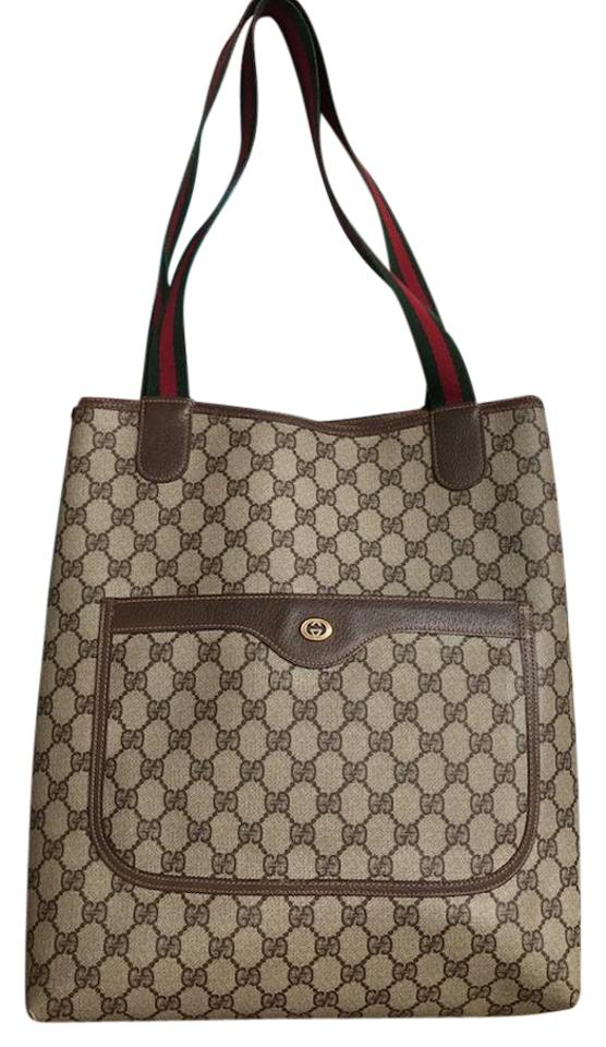 bce12154d32502 Gucci North South Gg Web Beige Canvas Tote - Tradesy