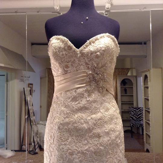 Mori Lee Ivory Champagne Silver Lace 1903 Traditional Wedding Dress Size 4 (S) Image 1