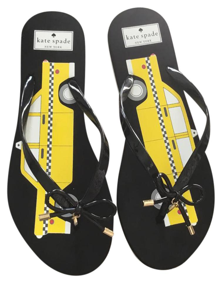 fd45f0506cd Kate Spade Black Yellow Taxi Cab Flip Flops Sandals Size US 9 ...