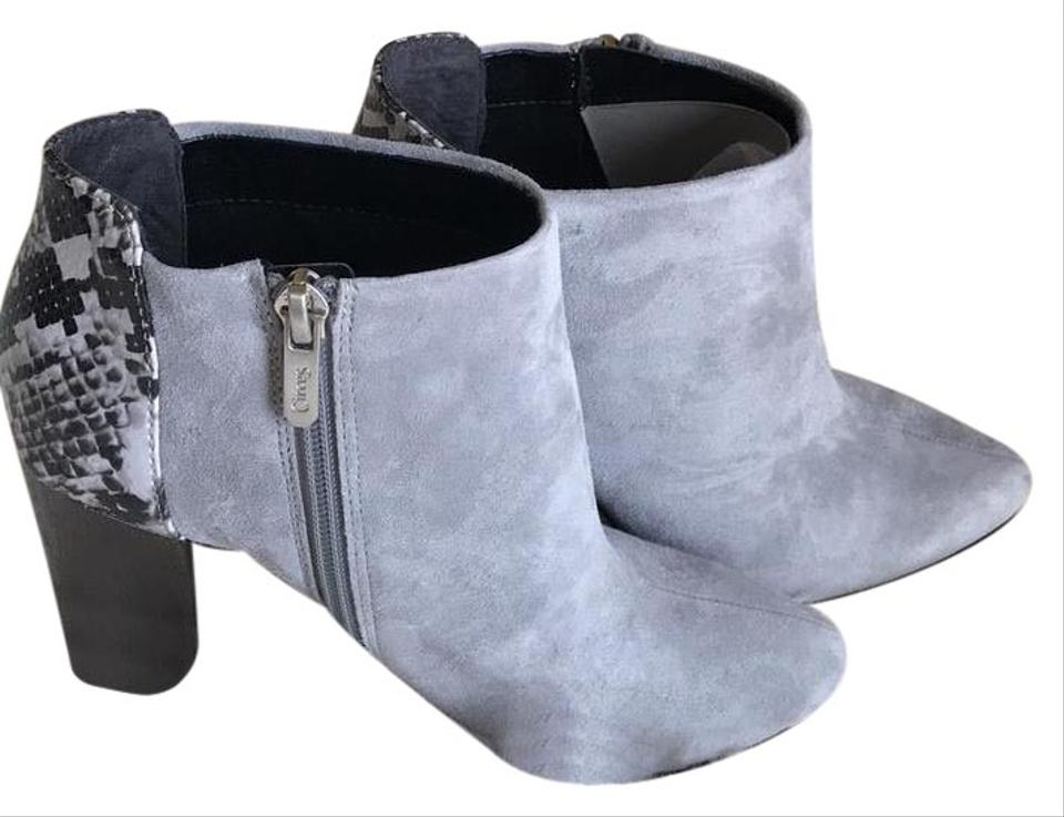 2589889bac067 Circus by Sam Edelman Gray Bond Snake-embossed Suede Boots Booties ...