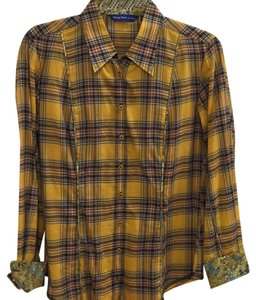 Georg Roth Los Angeles Plaid Flowers Button Down Shirt Yellow