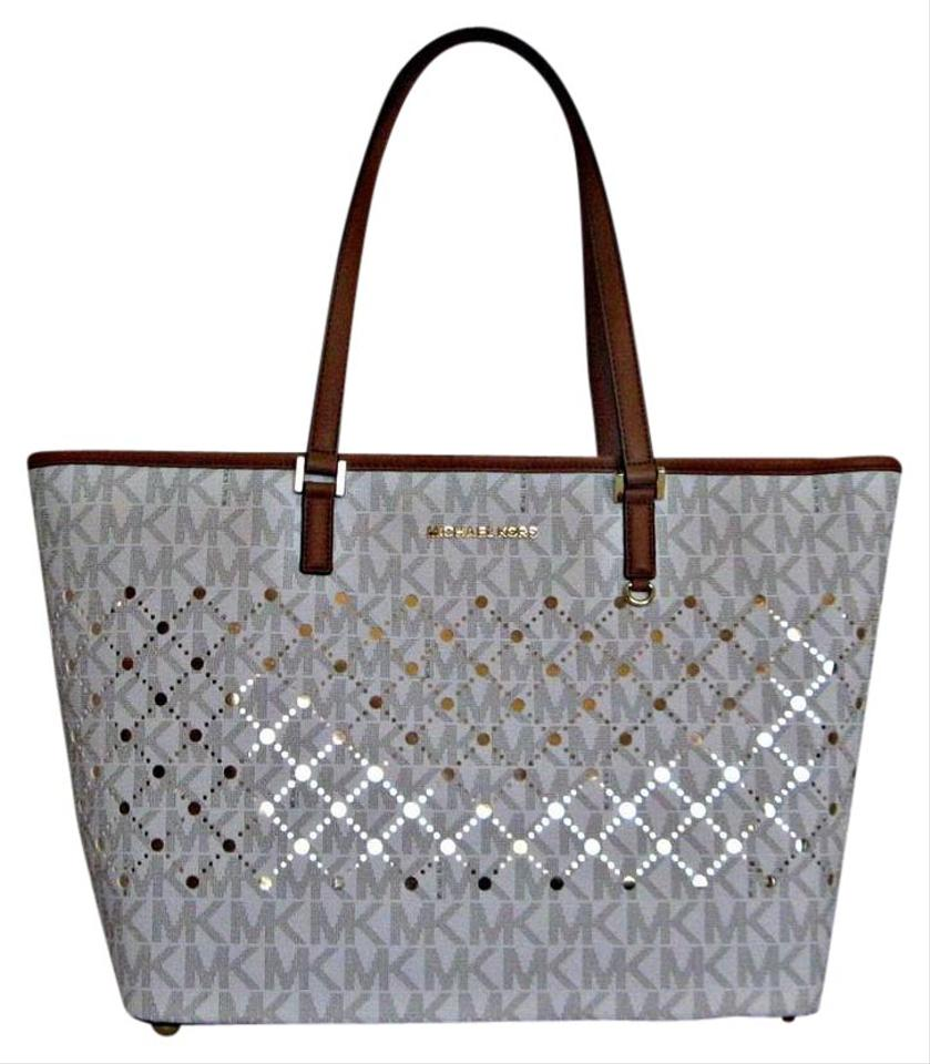 82b480213a0799 Michael Kors Mk Violet Embellished Leather Trim Tote in White Image 0 ...