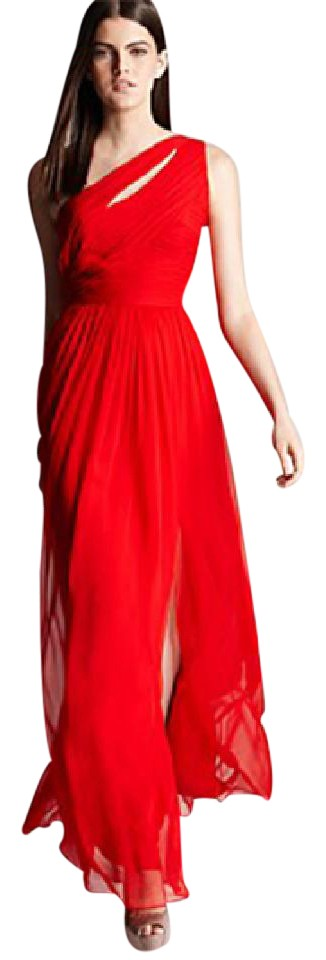 Monique Lhuillier Red One Shoulder Gown - Tradesy