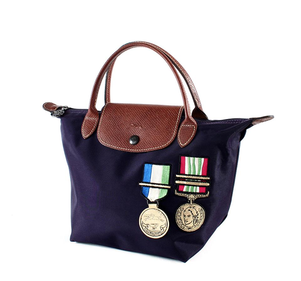 99242b69386e8 Longchamp Le Pliage The Colonel Jeremy Scott Limited Edition Purple Blue  Nylon Tote
