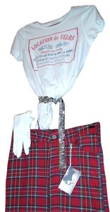 Other AgaTha 4 pc Plaid Ensemble, Hot Topic Full Plaid Skirt and Paris Tee, Sequin Belt and VTG Gloves
