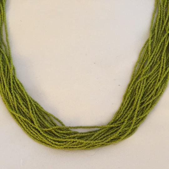 Other Gorgeous Bohemian Necklace. Lime Green Hand Beaded With Navy String Detailing. Image 1