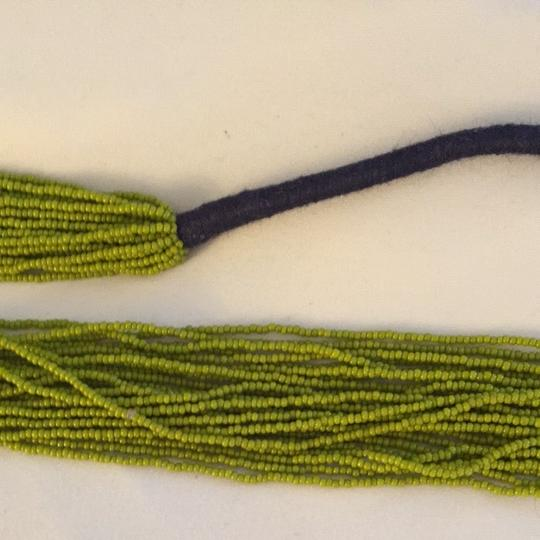 Other Gorgeous Bohemian Necklace. Lime Green Hand Beaded With Navy String Detailing. Image 2