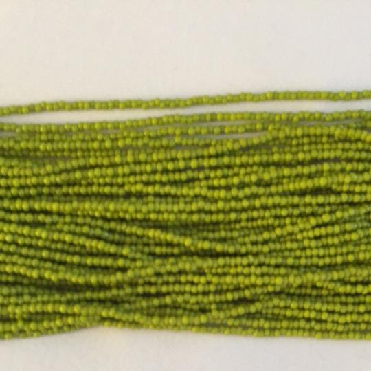 Other Gorgeous Bohemian Necklace. Lime Green Hand Beaded With Navy String Detailing. Image 3