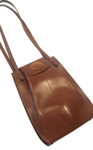 Lalique Crystal Elephant Leather Vintage Tan Tote in Camel