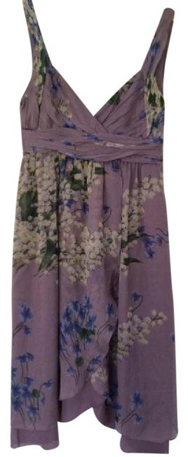 Item - Lilac Floral Mid-length Cocktail Dress Size 2 (XS)