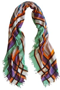 Etro NEW! Etro Milano Scarf Made in Italy Plaid Square Large Cashmere Modal