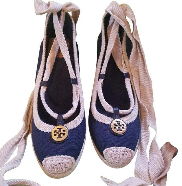 Item - Navy & Khaki Excellent Condition Minor Scuff On Soles. Wedges Size US 7 Regular (M, B)