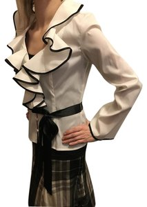 JS Boutique Fall Hollywood Belted Front Flap Top White and Black