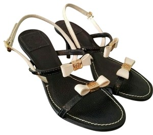 Tory Burch Navy & Off White Sandals