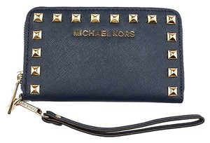 Michael Kors Selma Leather Wristlet in Blue